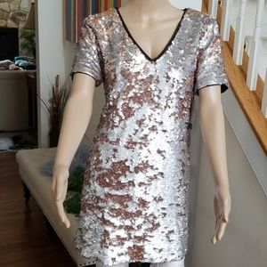 1. State Sequined Shift Dress Silver Mist Size M